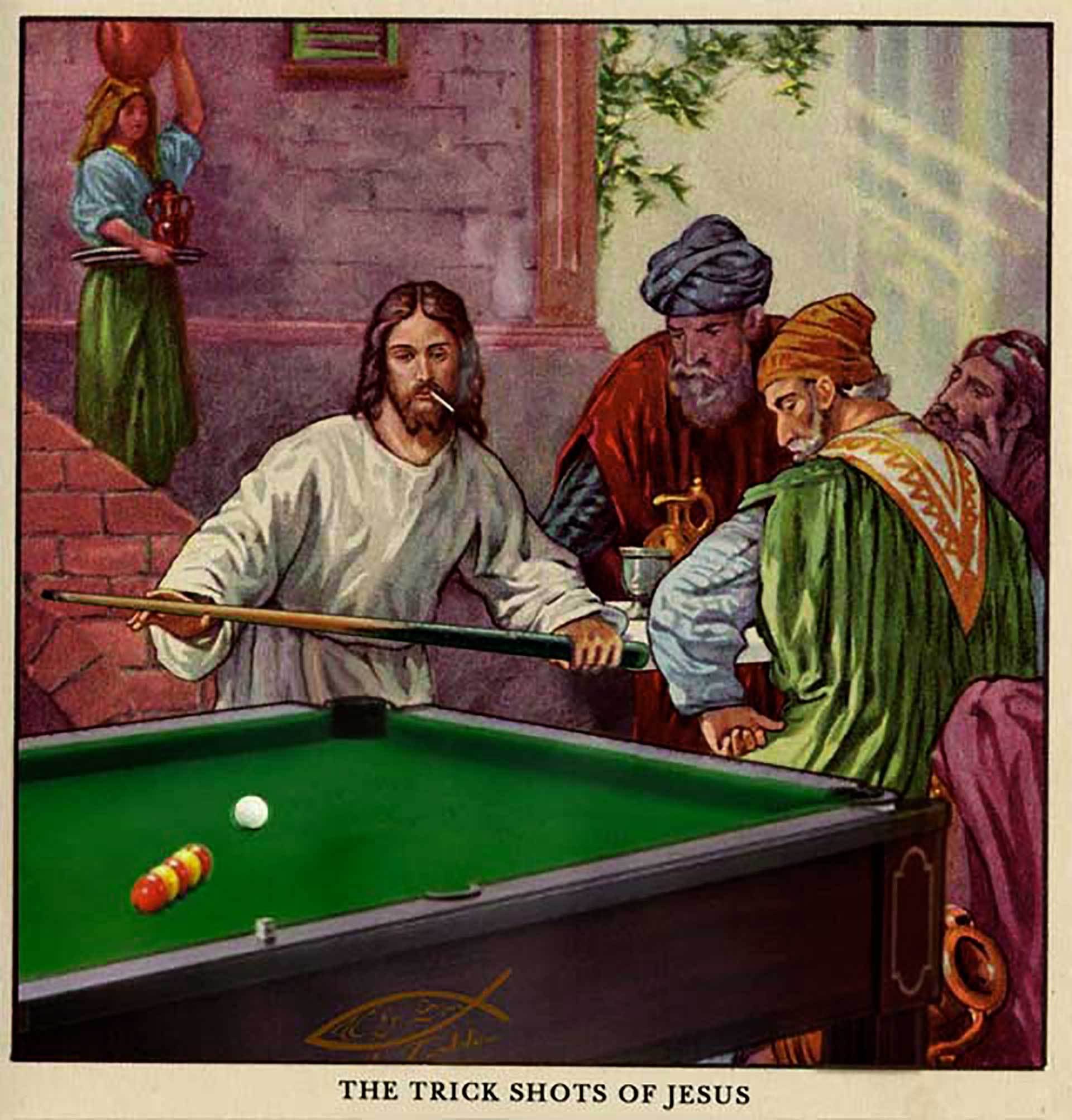 Jesus Playing Pool